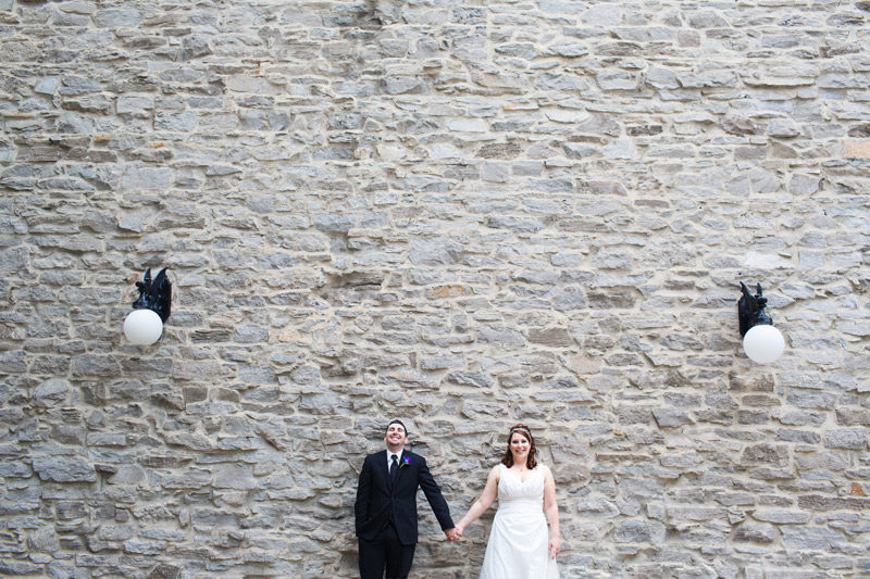 Ottawa Wedding Portrait Against Stone Wall