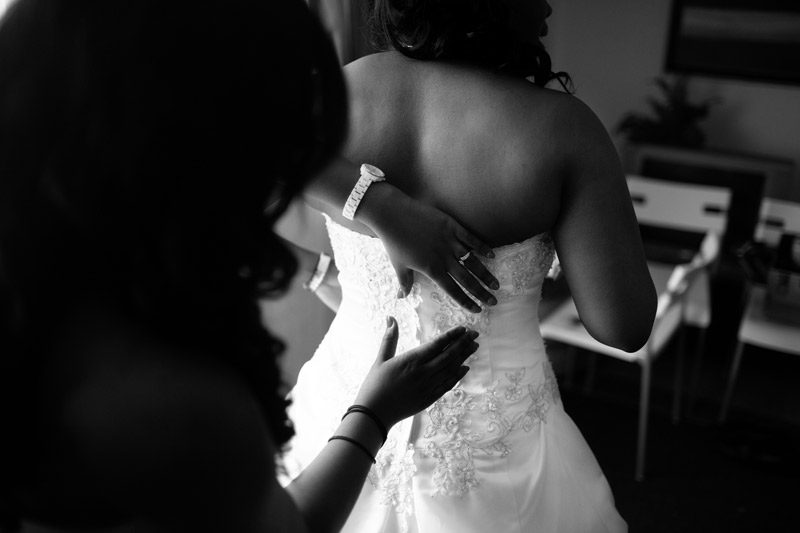 Ottawa Bride Getting Into Dress