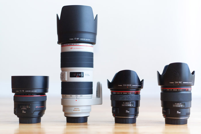Canon 50mm 1.2L 70-200mm 2.8L IS II 24mm 1.4L 35mm 1.4L