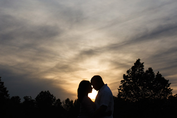 couple in a sunset silhouette