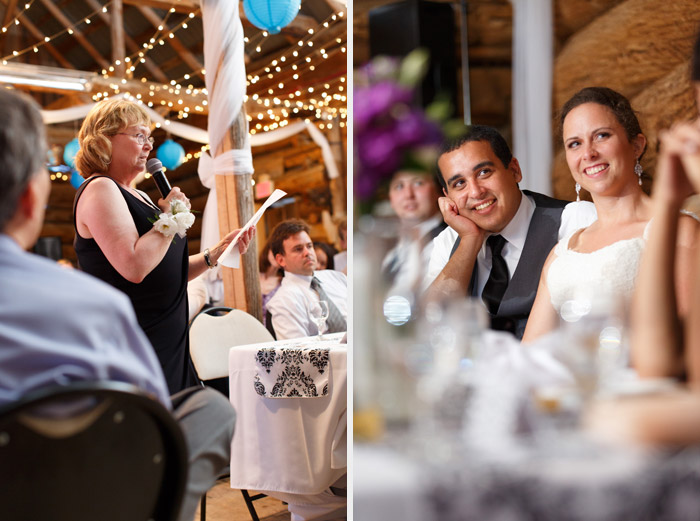 rustic reception speeches at the herb garden barn
