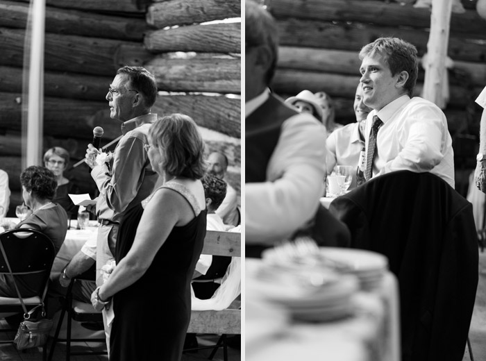 black and white photos of rustic reception speeches
